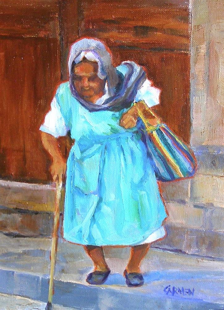 """Gypsy Woman, 6x8 Oil on Canvas Panel"" original fine art by Carmen Beecher"