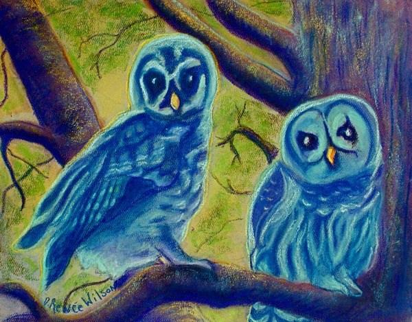 """Athena's Owlets"" original fine art by D. Renee Wilson"