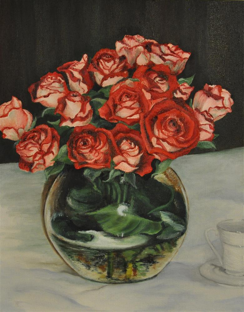 """Tea & Roses"" original fine art by Peggy W Morvant"