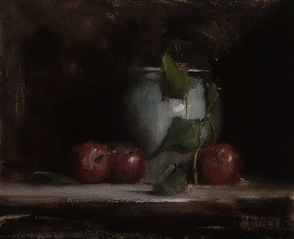 """Still Life with Apples and Leaves"" original fine art by Neil Carroll"