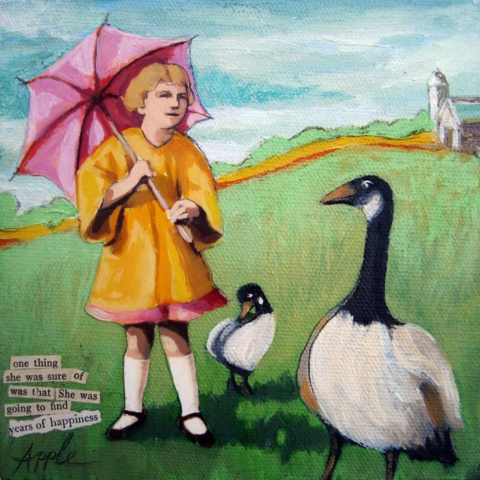 """Take a Gander - girl spring day farm geese mixed media"" original fine art by Linda Apple"
