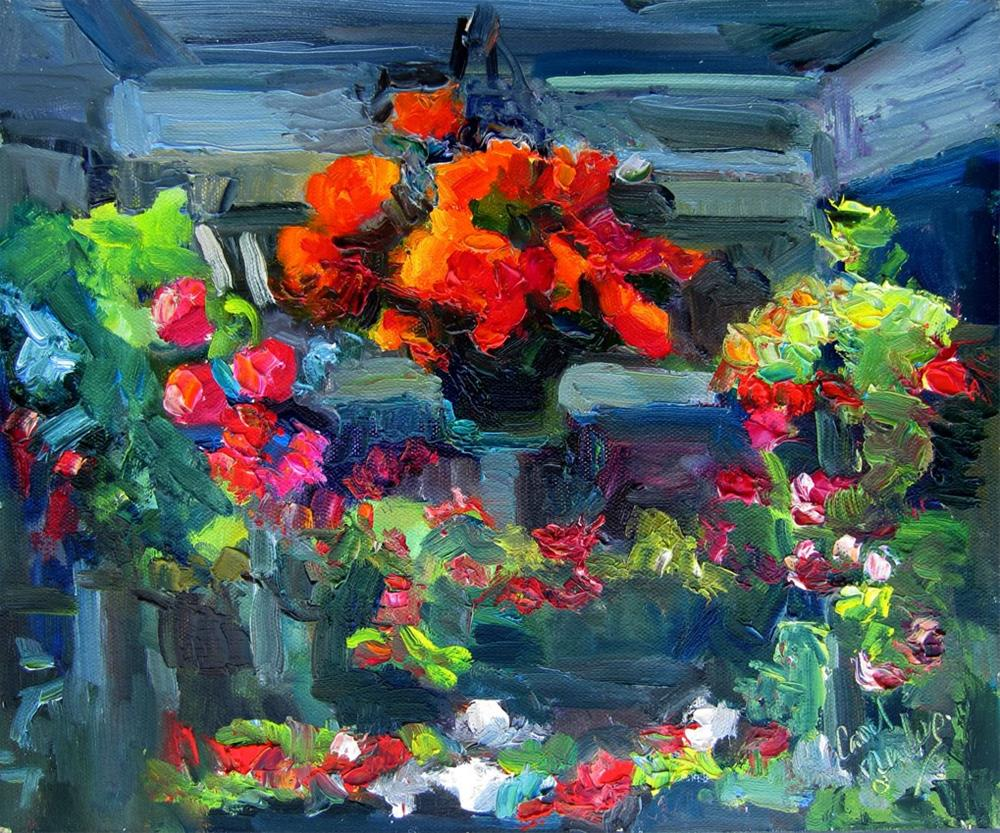 """New Guinea Impatiens at the Nursery"" original fine art by Carol Steinberg"