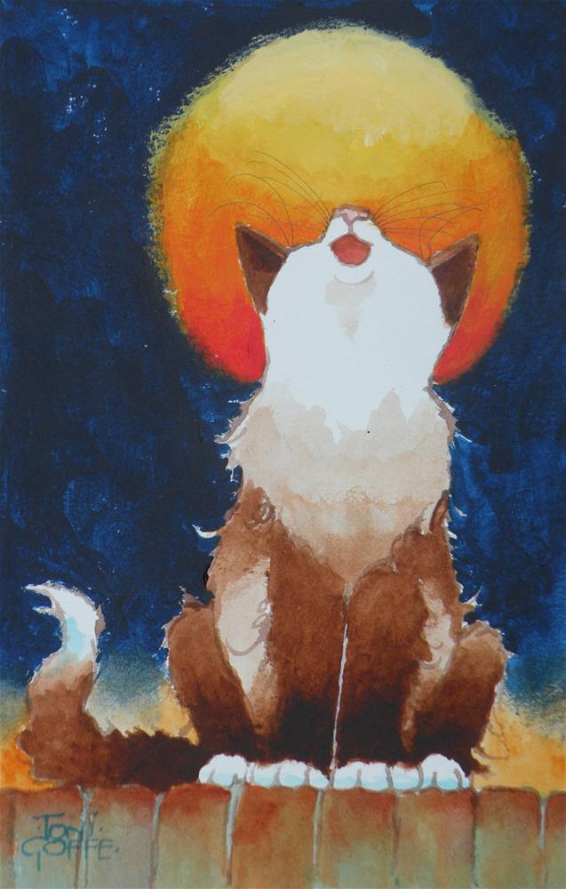"""Howling at the Moon"" original fine art by Toni Goffe"
