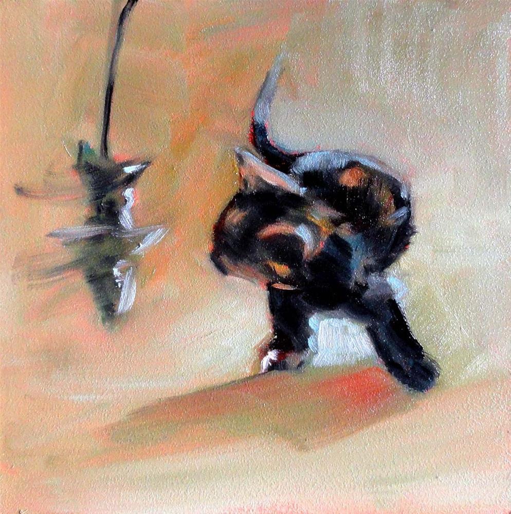 """Cat Fishing"" original fine art by Cietha Wilson"