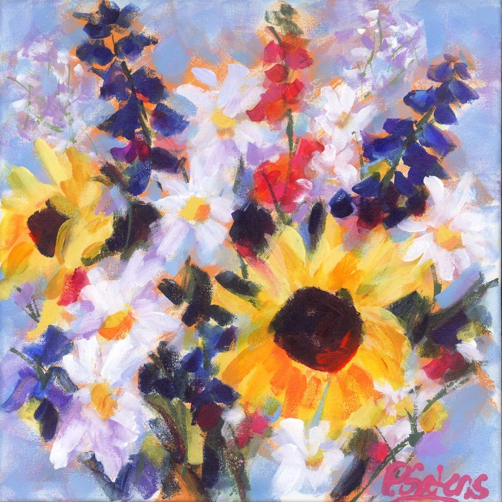 """Sunflowers & Wildflowers"" original fine art by Pamela Gatens"
