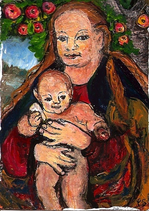 """ACEO Madonna of the Apple Tree in the Style of Lucas Cranach Penny StewArt"" original fine art by Penny Lee StewArt"