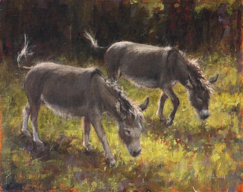 """Violet and Lily"" original fine art by Priscilla Olson"