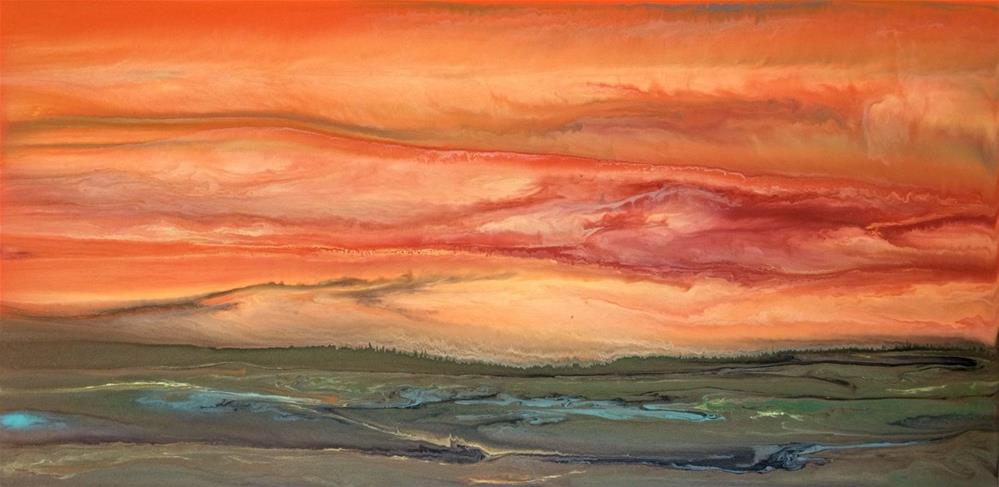 """Contemporary Landscape Art ,Abstract Sunset Painting Blazing Sky Reflected VIII by Colorado Contem"" original fine art by Kimberly Conrad"