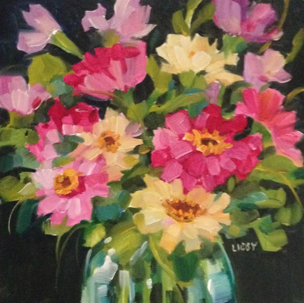 """Bright Side Zinnias"" original fine art by Libby Anderson"