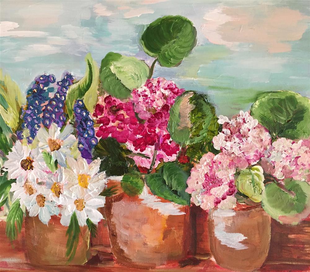 """""""Potting Day"""" original fine art by Yvonne Snead"""