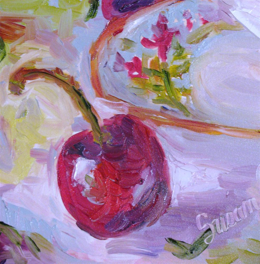 """Cherry and Saucer"" original fine art by Susan Elizabeth Jones"