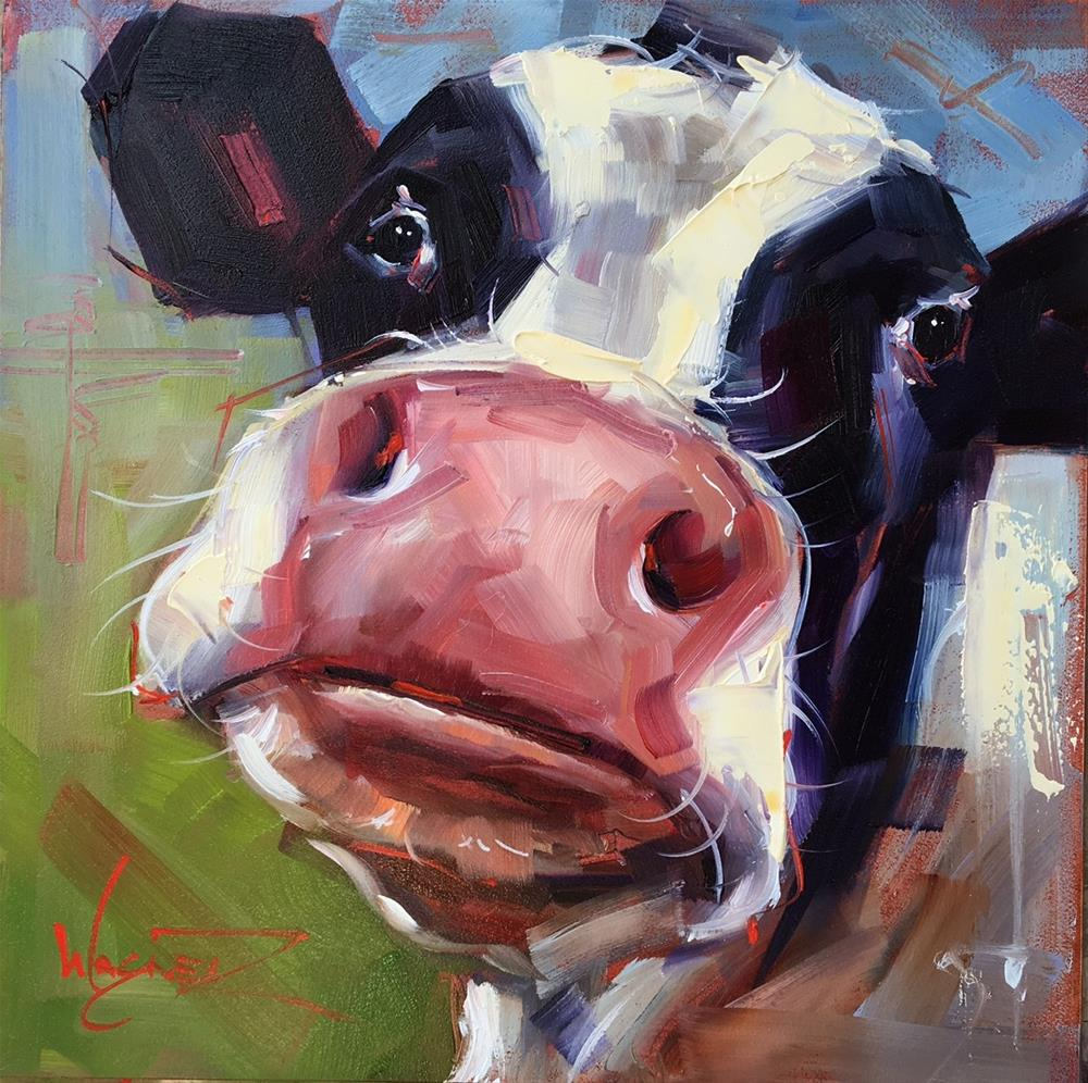 """ORIGINAL CONTEMPORARY COW Painting on Panel  in OILS by OLGA WAGNER"" original fine art by Olga Wagner"