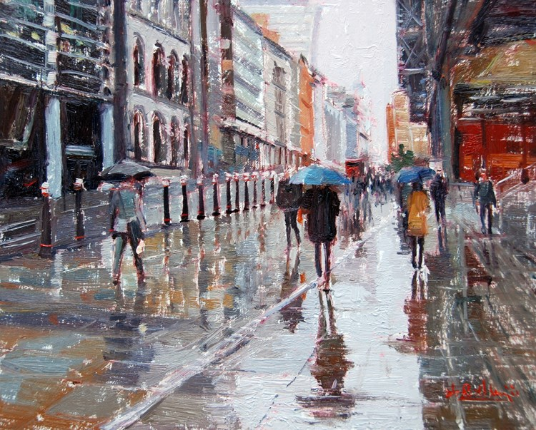 """That Rainy Day, Cannon Street London"" original fine art by Adebanji Alade"