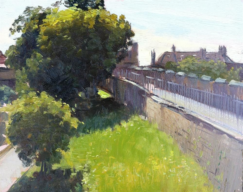 """Morning Light on The York City Walls"" original fine art by Adebanji Alade"