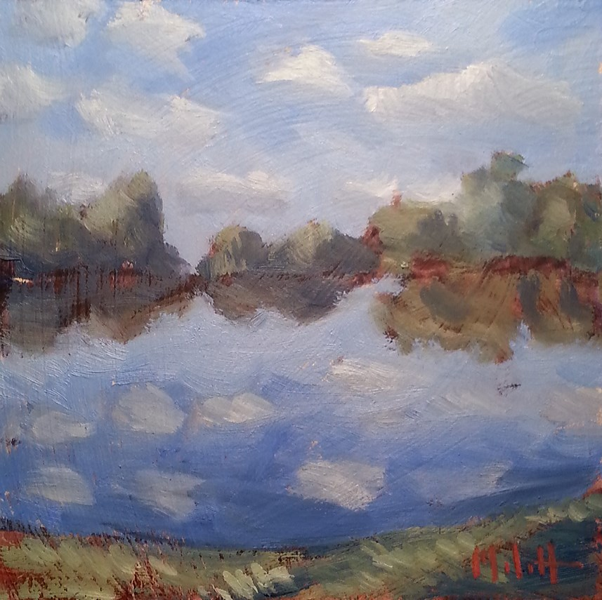 """Tuesday Evening Bike Ride Pond Reflections Original Oil Painting"" original fine art by Heidi Malott"