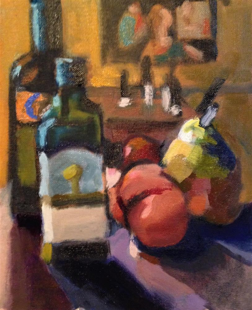 """Olive Oil, Peppers, Pear"" original fine art by Pamela Hoffmeister"
