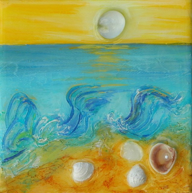 """Waves & shells"" original fine art by Gloria Urban"