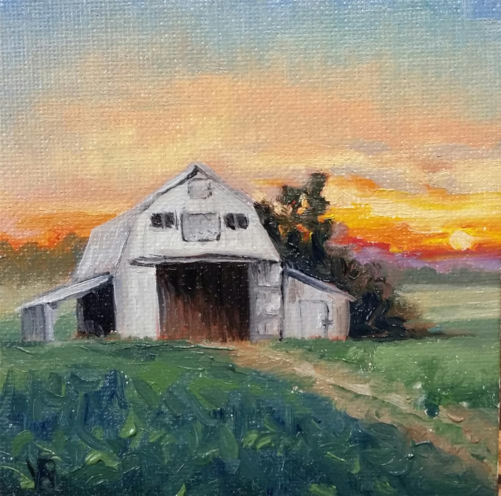 """Sunset on the Farm-mini painting"" original fine art by Veronica Brown"