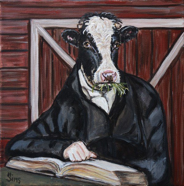 """Cowbert Moo-ney"" original fine art by Heather Sims"
