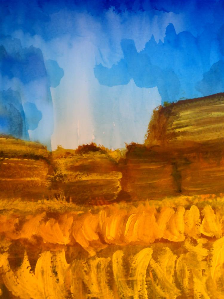 """Hay Bales in Autumn"" original fine art by Terri Brown-Davidson"