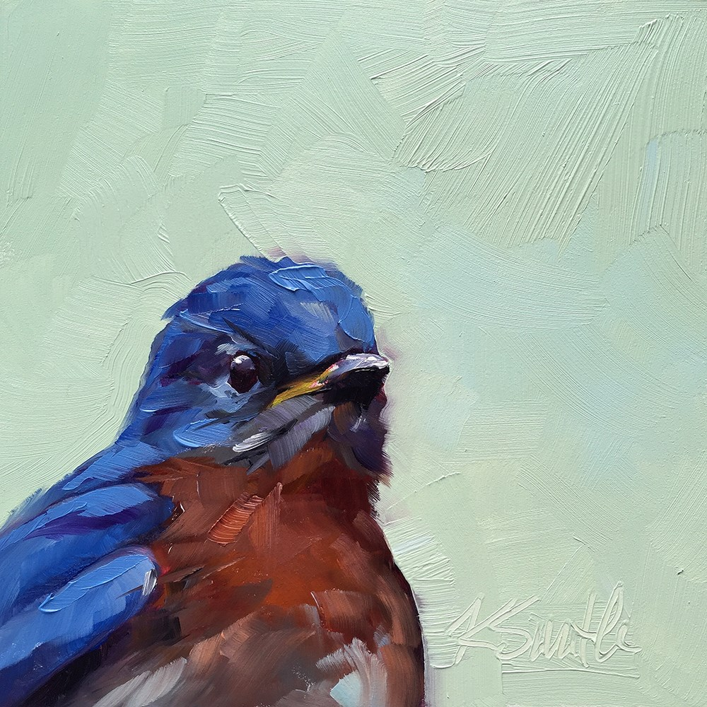 """blue bird sing"" original fine art by Kim Smith"
