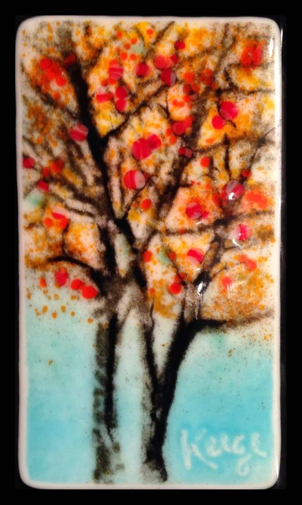 """Yellow Trees,Fused Glass Sgraffito sketch"" original fine art by Kelly Alge"