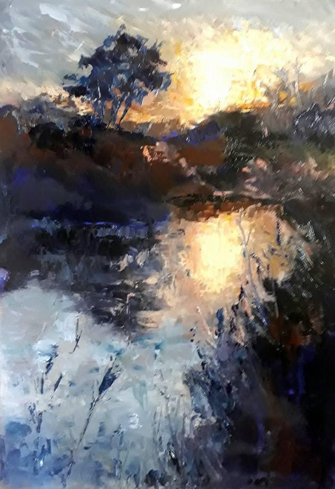 """Sunset at the Breede river"" original fine art by Rentia Coetzee"