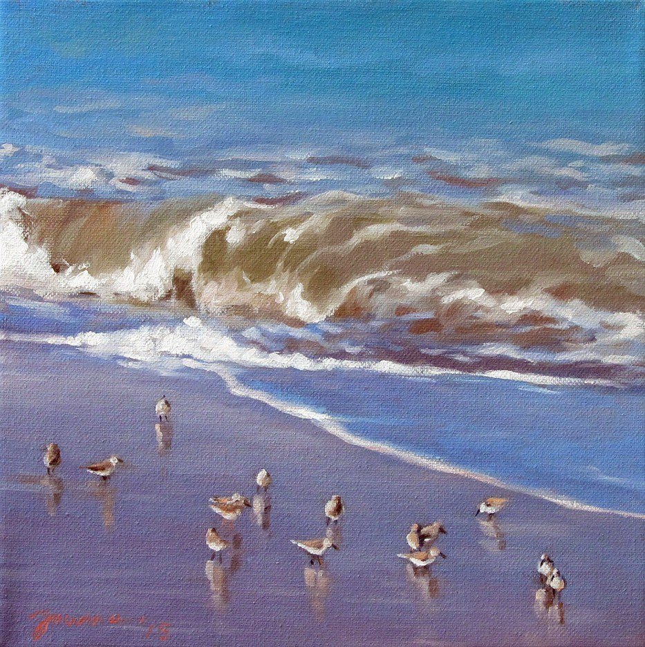 """Shorebirds and Waves"" original fine art by Joanna Bingham"