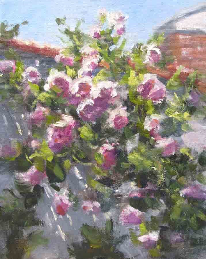 """Climbing Roses- Right"" original fine art by Pat Fiorello"