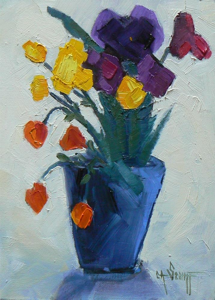 """Floral Still Life, Daily Painting, Mixed Blessings 6x8 Oil"" original fine art by Carol Schiff"