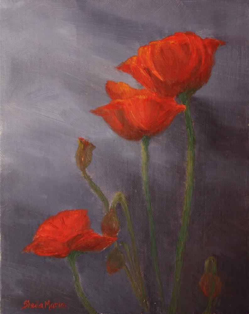 """""""Trois Rouges"""" original fine art by Sheila Marie"""