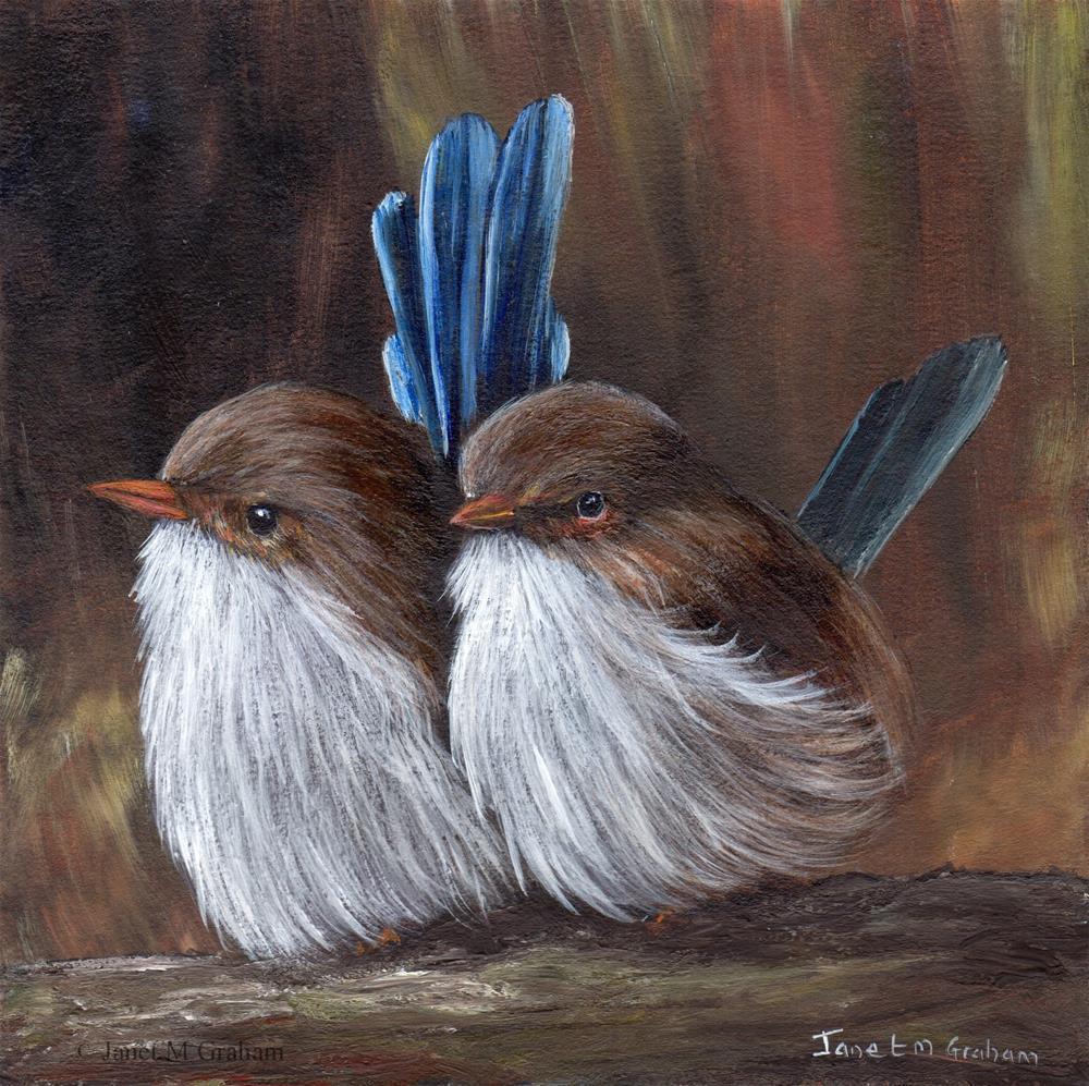 """Baby Wrens"" original fine art by Janet Graham"