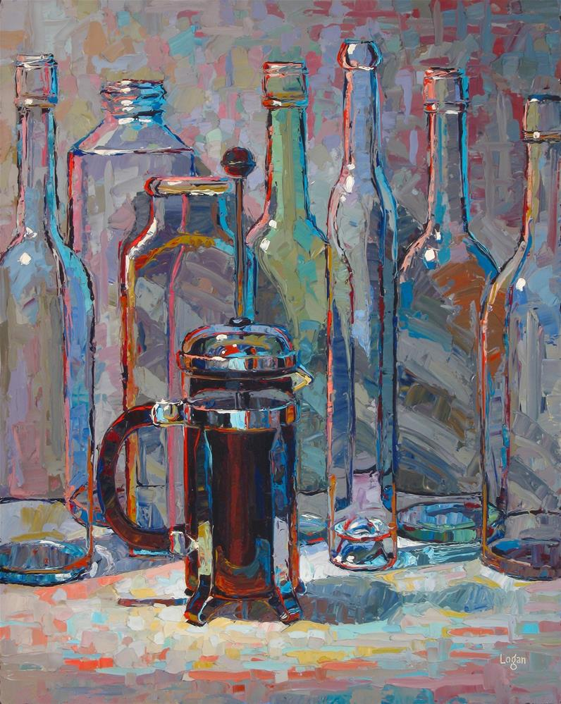 """Small French Press with Bottles"" original fine art by Raymond Logan"