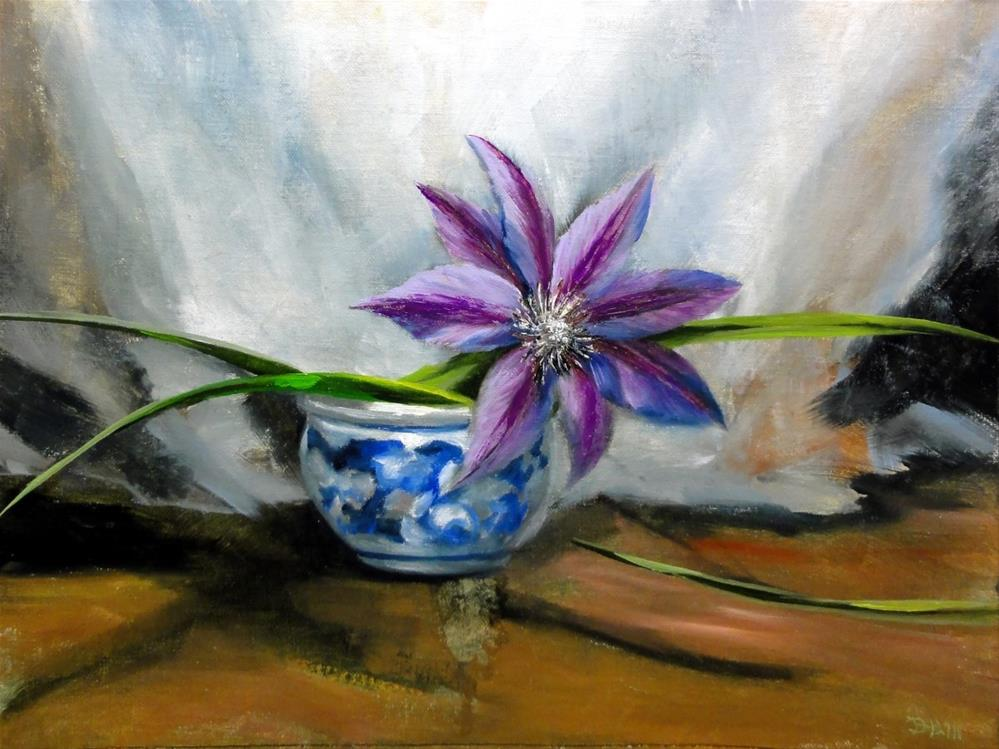 """The Soloist, Single Purple Clematis"" original fine art by Dalan Wells"