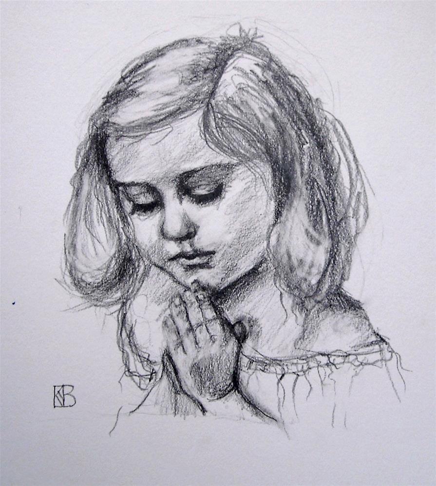"""Praying angel"" original fine art by Kathleen Barnes"