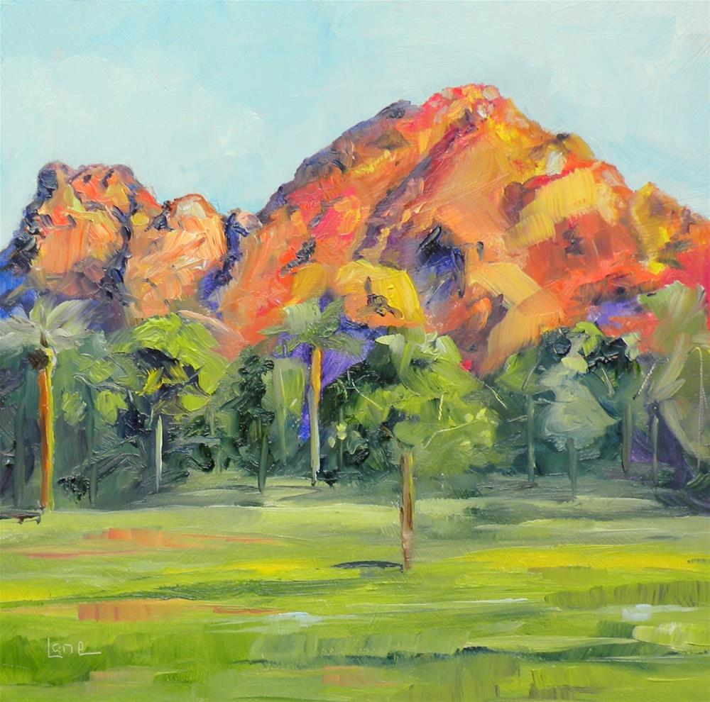 """CAMELBACK MOUNTAIN OIL OF THIS ARIZONA MOUNTAIN © SAUNDRA LANE FINE ART"" original fine art by Saundra Lane Galloway"