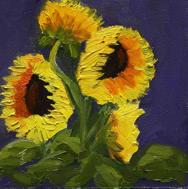 """Sunflowers"" original fine art by Jane Frederick"