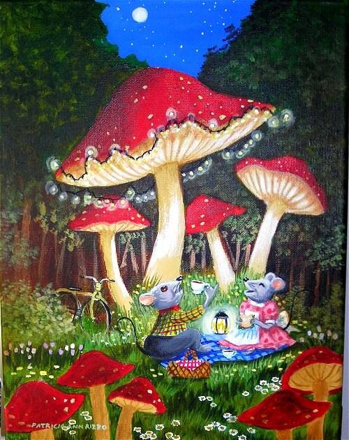 """""""Mouse Picnic"""" original fine art by Patricia Ann Rizzo"""