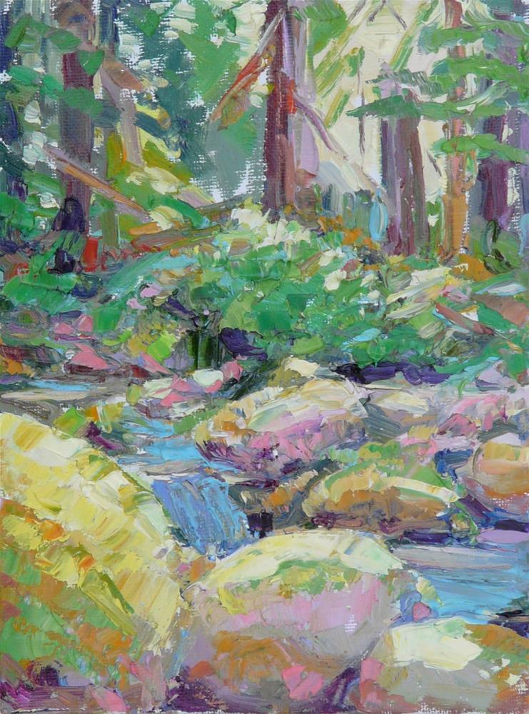 """Forest Stream,landscape,oil on canvas,7x5,price$100"" original fine art by Joy Olney"