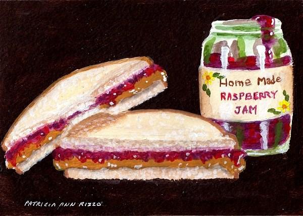 """""""PB&J and Raspberry Jam"""" original fine art by Patricia Ann Rizzo"""