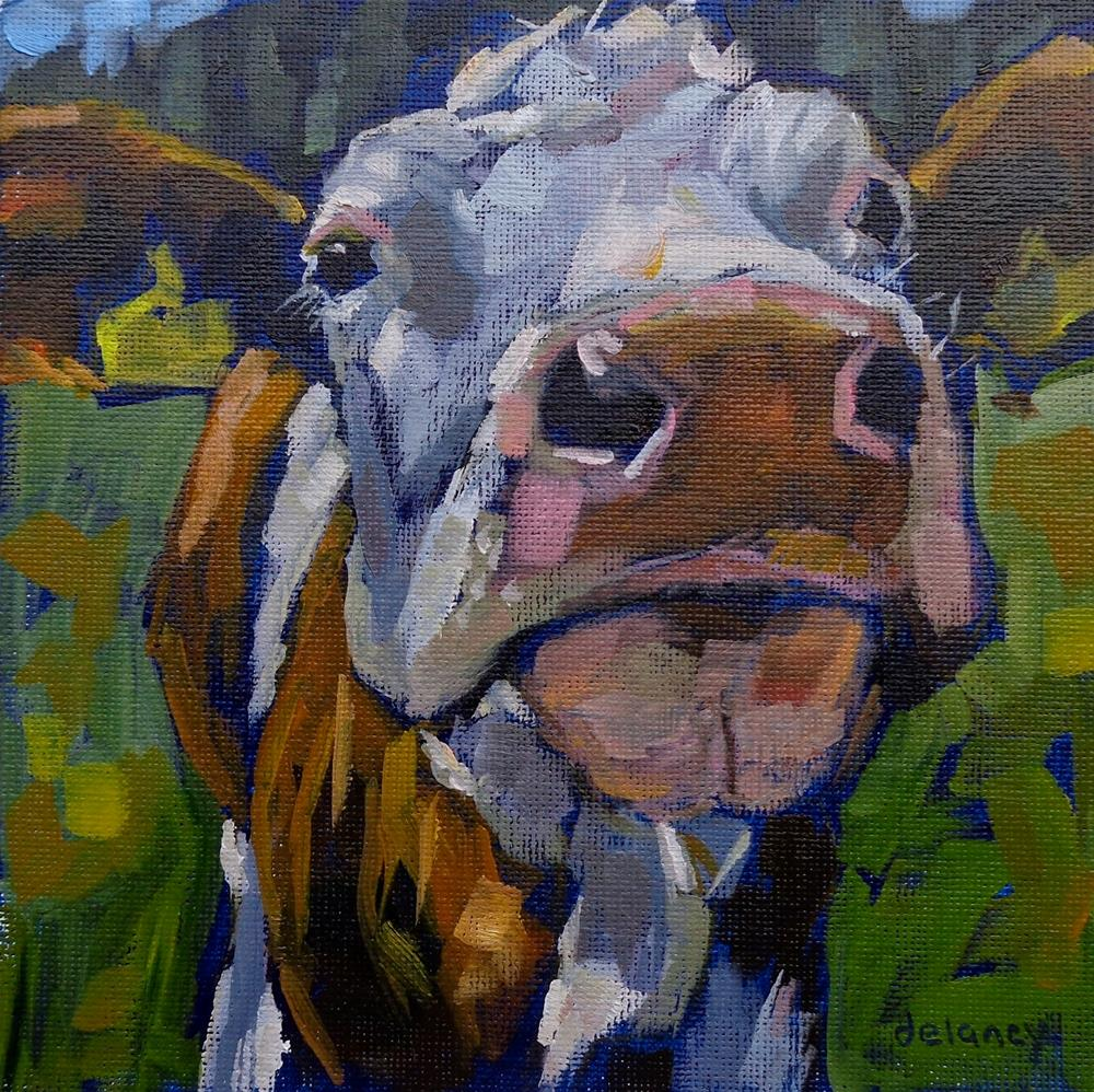 """Cow 144 SMARTY PANTS"" original fine art by Jean Delaney"