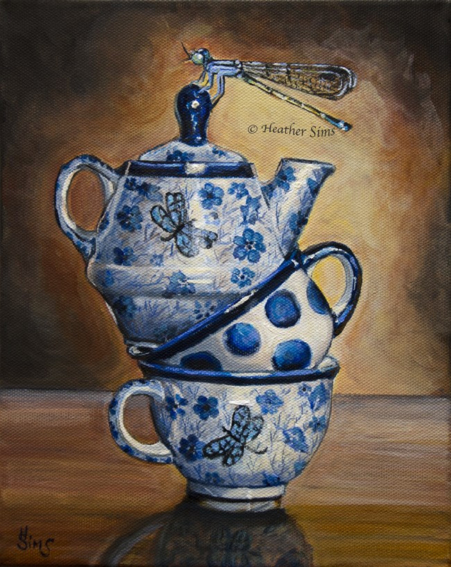 """Dragonflies: Polish Pottery XCII"" original fine art by Heather Sims"