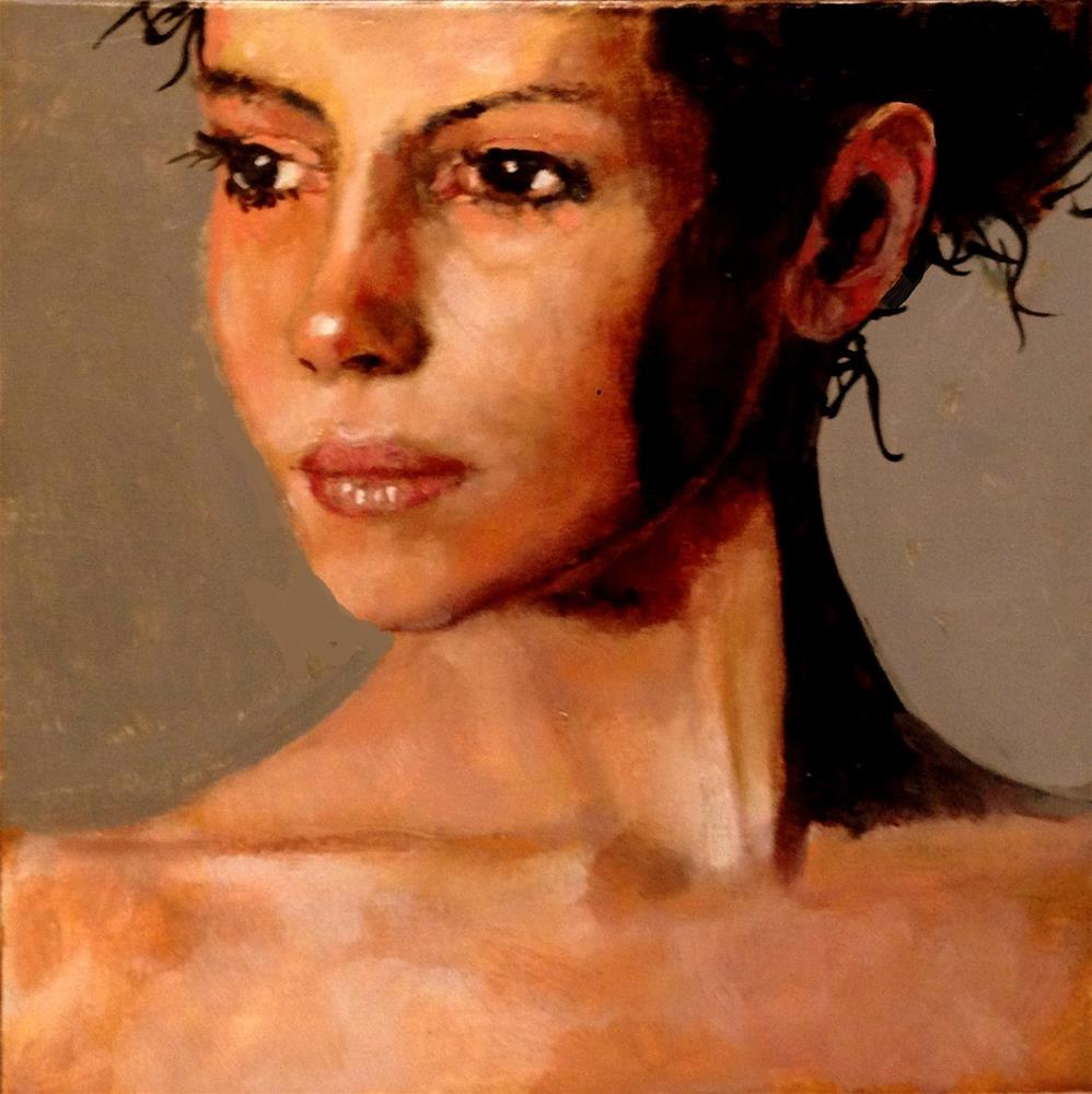 """NEW FACE 8X8 OIL ON PANEL IN WOOD ACCENT FRAME"" original fine art by David Larson Evans"