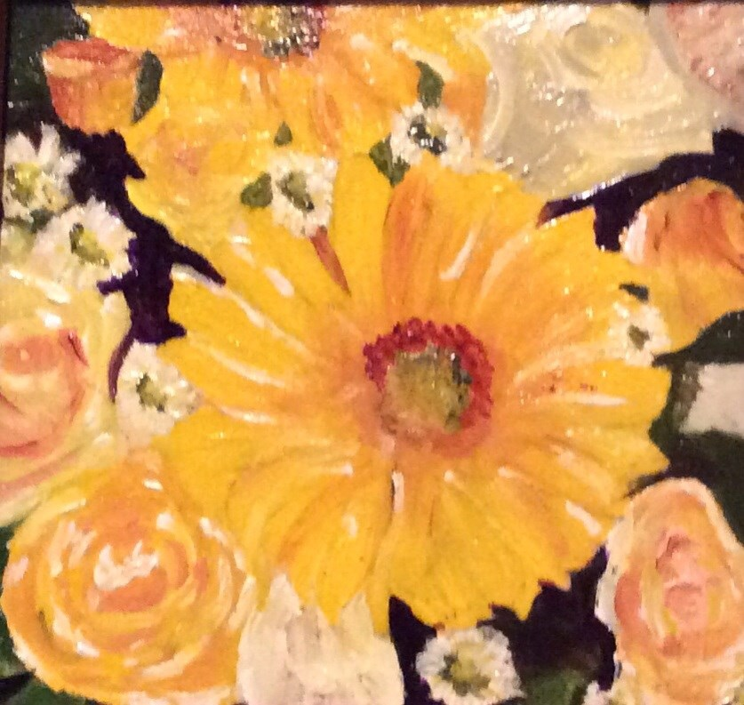 """Daisy and  Roses"" original fine art by Charlotte Lough"