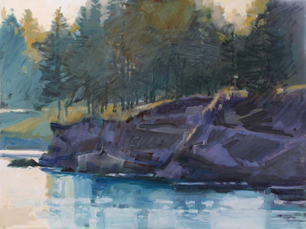 """Mill Bay Cliff and Trees"" original fine art by Gretchen Hancock"