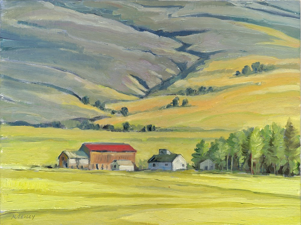 """""""Red-roofed Barn"""" original fine art by Kath Reilly"""