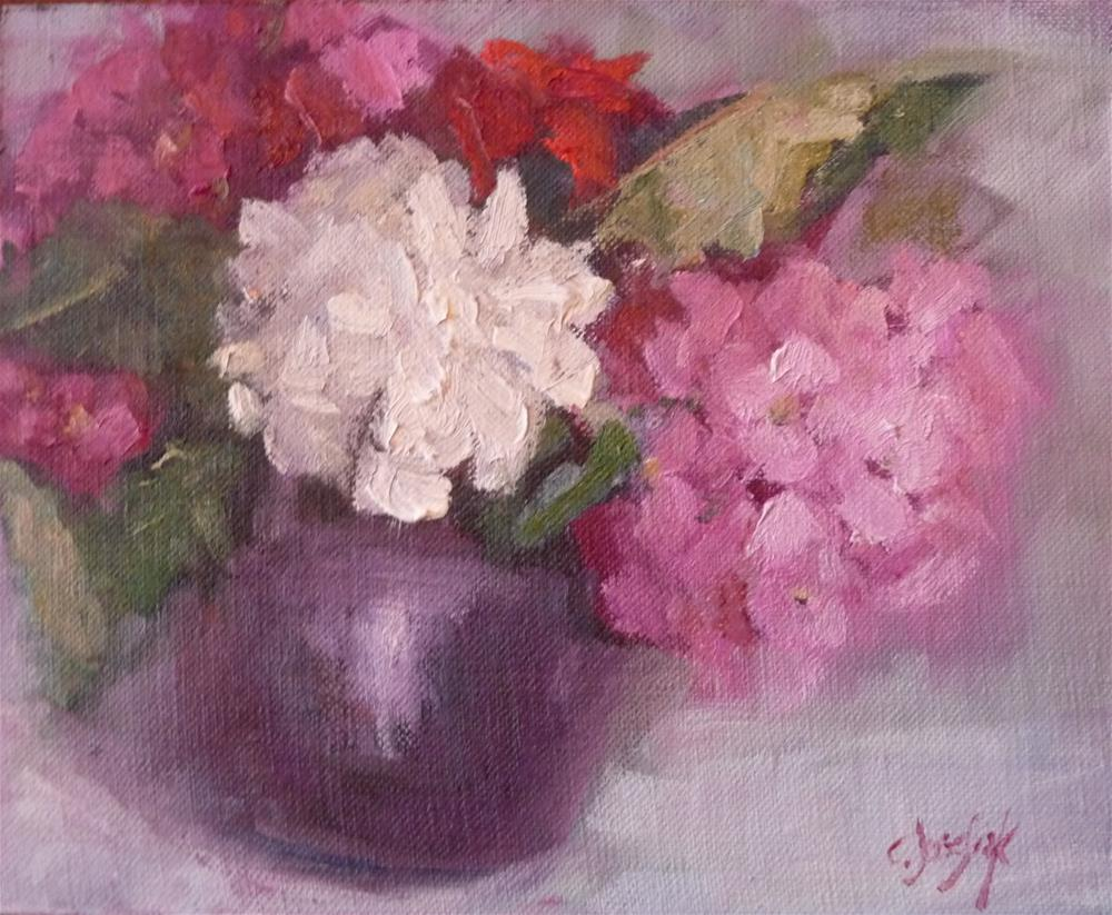 """Peonies and Hyrdrangeas"" original fine art by Carol Josefiak"