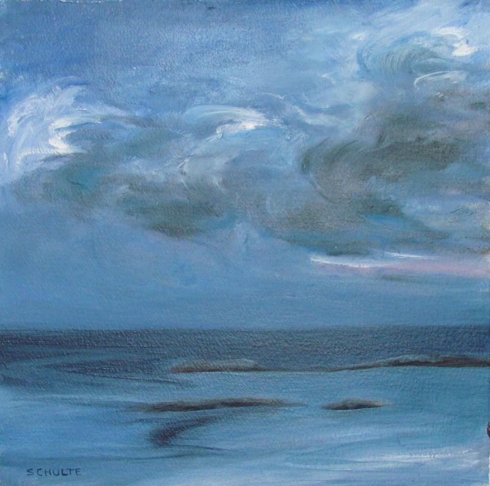 """Framed  Indigo Storm Promise"" original fine art by Lynne Schulte"