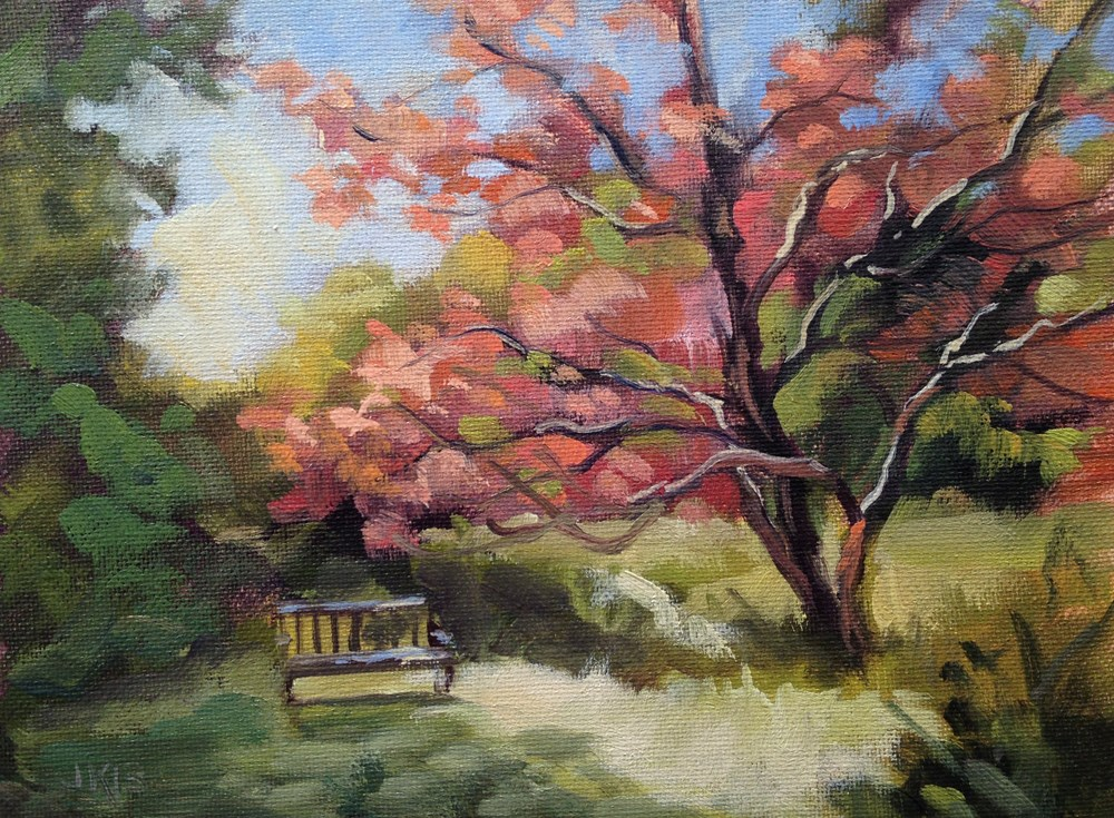 """Under the Japanse Maple"" original fine art by Jeanne Bruneau"