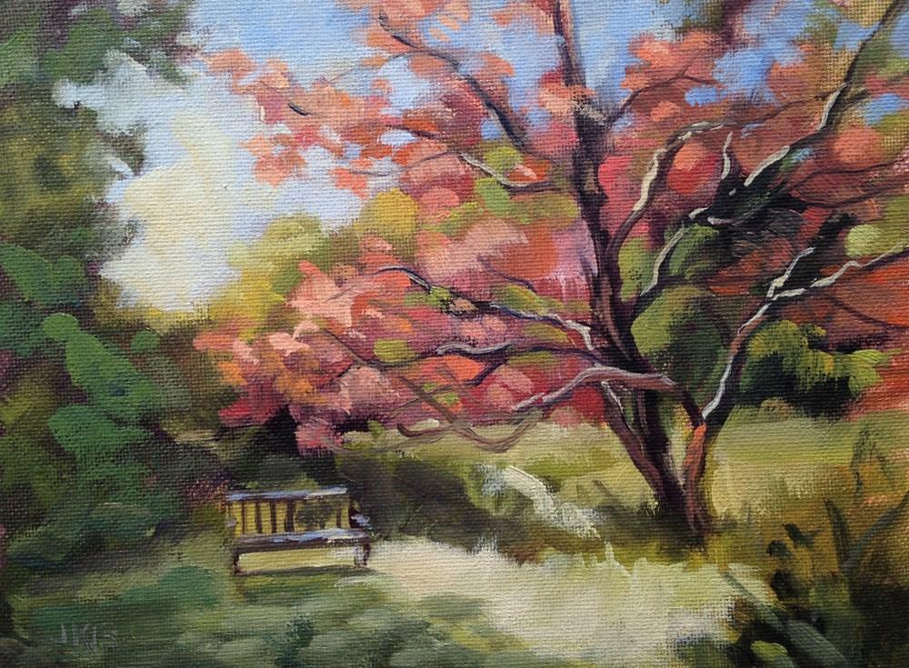 """Under the Japanse Maple"" original fine art by Jeanne Bruneau"